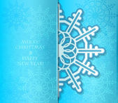 Cartão de Natal com um floco de neve bonito. — Vetor de Stock