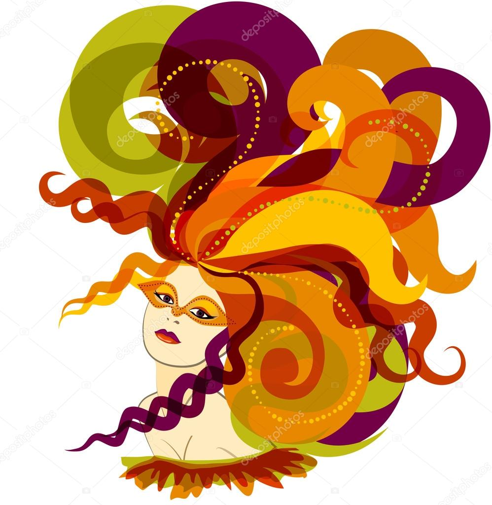 用羽毛帽子的女人 — 图库矢量图像08