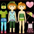 Paper doll with a set of clothes and accessories. All objects are grouped separately and can be used independently — Stock Vector