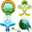 Ecological design, a set of icons, each element is isolated on a separate layer — Imagen vectorial