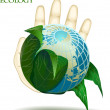 Ecology, hand holding earth — Stock Vector