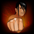 Young man with outstretched hand a fist — Imagen vectorial