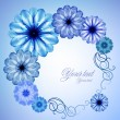 Blue floral frame — Stockvectorbeeld