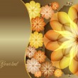 Beautiful flowers greeting with gold flowers — Stock vektor