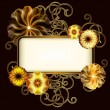 Vintage banner with golden flowers — Imagen vectorial