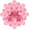 Pink flower on a white background decorated with ribbon and beads — Stock vektor