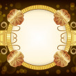 Golden festive frame with flowers — Stock vektor