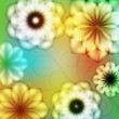Summer background with showy flowers — Stok Vektör