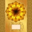 Greeting card with flower and golden border. — Imagen vectorial