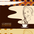 Stock Vector: Girl with a cup of coffee