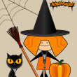 Cheerful little witch, halloween. — Stock Vector
