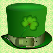 Stock Vector: Realistic hat with a shamrock, St. Patrick's Day, clover