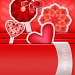 oryginalny valentine z serca, kwiaty i motyle — Wektor stockowy