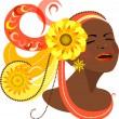 Beautiful dark-skinned girl in the carnival headdress. — Stock Vector