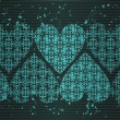 Horizontal seamless vignette with hearts — Imagen vectorial