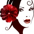 Spanish woman with a flower in her hair.  — Stock Vector