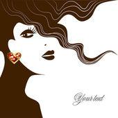 Bir kadının küpesi ile arka yüz — Stok Vektör