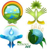 Ecological design, a set of icons, each element is isolated on a separate layer — Stock Vector