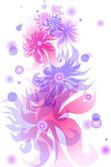 Belle carte de voeux avec fleurs transparentes — Vecteur