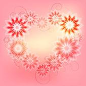 Flower frame in the form of heart — Stock Vector