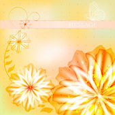Elegant card with abstract watercolor flowers — Vector de stock