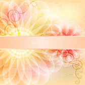 Beautiful floral card with ribbon — Stock Vector