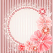 Beautiful wedding card with lace, flowers and beads — Stock Vector