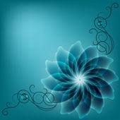Beautiful corner vignette with blue flower. — Stock Vector