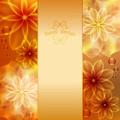 Beautiful background with orange and yellow flowers — Stock Vector