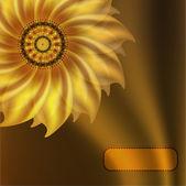 Gold flower on silk background — Stock Vector