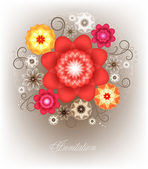 A bright bouquet for greeting card. — Stock Vector