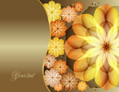 Beautiful flowers greeting with gold flowers — Stock Vector