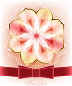 Beautiful card with a pink flower and a red ribbon — Stock Vector