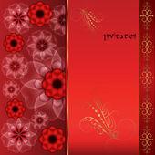 Rote orientalischen Hintergrund mit Blumen und gold. — Stockvektor