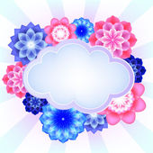 Vector illustration of colorful flowers and the cloud, there is a place for your text — Stock Vector