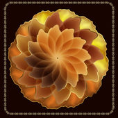Gold rose on a black background with a gold frame — Cтоковый вектор