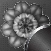 Fiore di metallo su fondo argento con perforazioni e borchie — Vettoriale Stock