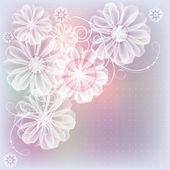 Düğün kartları için fikir bir leylak-pembe arka plan üzerinde beyaz çiçekler — Stok Vektör
