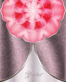 Elegant card with a rose and a fabric background — Stockvektor