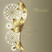 Viñeta floral vertical con monogramas oro — Vector de stock