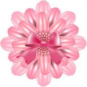 Flor-de-rosa em um fundo branco decorado com fita e pérolas — Vetorial Stock