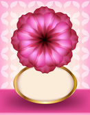 Beautiful pink flower on a patterned background — Stock Vector