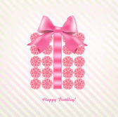 Gift box of pink flowers tied bow — Stock Vector