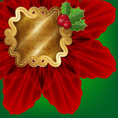 The traditional Christmas card with poinsettia and holly. — Stock Vector