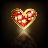 Coração de ouro com rubi. — Vetorial Stock