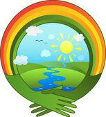 Hands in the shape of a rainbow hug the globe — Stock Vector