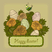 Vintage Easter card with roses and eggs — Cтоковый вектор
