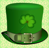 Realistic hat with a shamrock, St. Patrick's Day, clover — Stockvektor