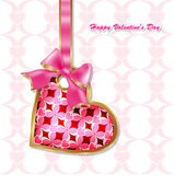 Hanging on a ribbon heart, the idea for valentine — Stock Vector