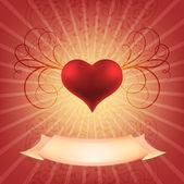 Beautiful heart volume with monograms. — Stock Vector
